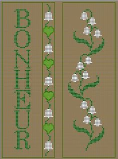 See the file: Muguet.pdf black and white See the file: Muguet.pdf colors Here are yo. Cross Stitch Bookmarks, Cross Stitch Borders, Cross Stitch Flowers, Cross Stitch Designs, Cross Stitching, Cross Stitch Embroidery, Cross Stitch Patterns, Tapestry Crochet, Hand Embroidery Patterns