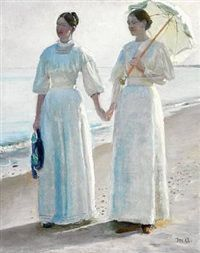 Minne and Sophie Holst in light summer dresses on Skagen beach. Study for Strandpromenade or Holst døtrene på Skagen Sønderstrand by Michael Peter Ancher
