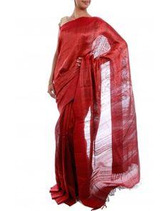 Red Tussar Silk Saree by Julie Kagti
