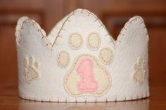 Puppy Paw Pink Felt Crown