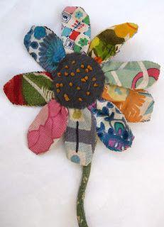 Scrap fabric flower (Thread and Thrift)