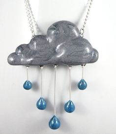 awesome Rain Cloud Necklace Jewelry Handmade by NeverlandJewelry on Etsy… Polymer Clay Kunst, Fimo Clay, Polymer Clay Projects, Polymer Clay Charms, Polymer Clay Creations, Polymer Clay Jewelry, Clay Crafts, Men's Jewelry, Jewelry Crafts