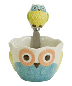 This Floral Owl Dip Bowl & Spreader by Boston Warehouse is perfect! #zulilyfinds