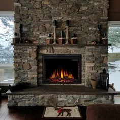 Ebern Designs Recessed Wall Mounted Electric Fireplace Insert Size: H x W x D Cabin Fireplace, Fireplace Shelves, Fireplace Ideas, Corner Stone Fireplace, Stone Fireplace Designs, Gas Fireplace Inserts, Stone Fireplace Makeover, Stacked Rock Fireplace, Brick Fireplace Remodel