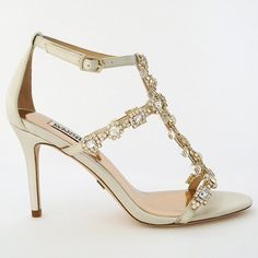 Badgley Mischka Cascade in Ivory with gold. Badgley Mischka Wedding Shoes. Glamorous beaded wedding sandals that redefine walking down the aisle. Gorgeous shoes for the bride.