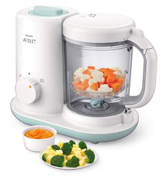 All the featured baby food makers are designed to automatically steam and blend food material so that you can always feed your baby with the right homemade, nutritious baby-food in Best Baby Food Maker, Baby Food Makers, Baby Food Steamer, Avent Baby Products, Baby Food Recipes, Healthy Recipes, Healthy Baby Food, Baby Cooking, Baby Food Storage