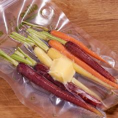 Sous vide carrots rainbow in a sous vide bag holiday dishes Anova Recipes, Sous Vide Recipes Anova, Vegetable Dishes, Vegetable Recipes, Rainbow Carrot Recipes, Amazing Food Made Easy, Joule Sous Vide, Sous Vide Vegetables, Rotten