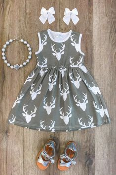 Gray Deer Tank Dress