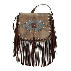 American West Handbags Pueblo Moon Crossbody Fringe Bag in Charcoal Brown at Lufli.com!