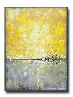 """Coastal Serenity"" Original #Art Yellow Grey Abstract Painting Contemporary Palette Knife Paintings. Stunning textured sculpted white grey yellow gold art modern wall decor coastal beach art. Mixed media acrylic on 30x40x1.5"" Gallery wrapped canvas. Fine Art, Gift. Can be hung vertically or horizontally.- Hand-painted, one-of-a-kind. Beautiful, vibrant, wonderful texture! - by Internationally, Collected Artist, Christine Krainock"