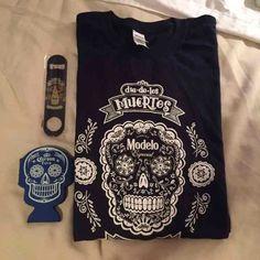 Modelo day of the dead t-shirt bundle Brand New Modelo t-shirt (navy blue) men's shirt New Corona beer koozie New Modelo beer bottle opener Tops Tees - Short Sleeve
