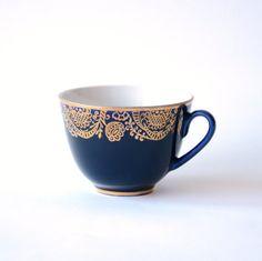 Vintage Lomonosov USSR Teacup  Cobalt Blue Gold by GeorgiVintage, $30.00