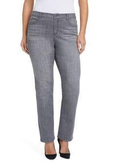 d5f58a2e6f6633 Bandolino Women's Plus Size Mandie Straight Leg Jean - Dark Gray Smoke - 16W