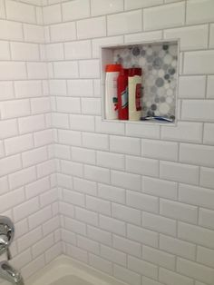 Here Is That Great Bubbly Marble Tile In My Shower Niches!