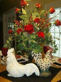 Roosters & flowers