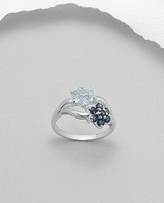Metal and Thread Floral Theme, Blue Topaz, Sterling Silver Rings, Sapphire, Engagement Rings, My Style, Metal, Flowers, Aur