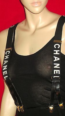 chanel suspenders. chanel 94p black \u0026 white suspenders iconic braces gently pre-owned one size o