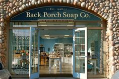 soap store! Backyard Farmer, Wellness Studio, Back Porches, Coffee Room, Candle Store, Soap Display, Workshop Design, Soap Shop, Coffee Store