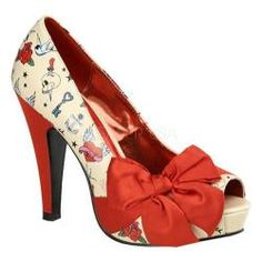 @Overstock - Show off your impeccable style with these fabulous heels from Pin Up Couture!.http://www.overstock.com/Clothing-Shoes/Womens-Pin-Up-Bettie-13-Cream-PU-Tattoo-Red-Satin/7333217/product.html?CID=214117 $79.95
