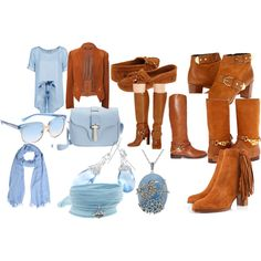"""""""Light Blue and Brown Suede Leather."""" by ohgirliamintrouble on Polyvore"""