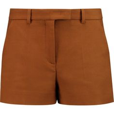 Emilio Pucci Cotton-twill shorts ($225) ❤ liked on Polyvore featuring shorts, brown, loose shorts, lightweight shorts, cotton twill shorts, loose fit shorts and brown shorts