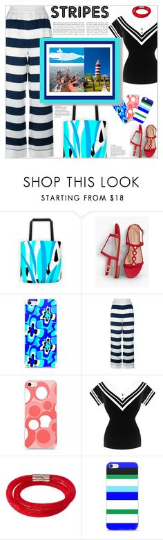 """Living It Up: Sailor Style"" by atelier-briella ❤ liked on Polyvore featuring Talbots, Dolce&Gabbana, Swarovski, cute, chic, stripedpants, iPhonecases and canvastotebag"