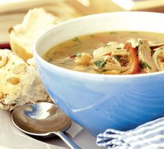 A warming winter treat, this spicy turkey soup is a great use of Christmas leftovers - happy Boxing Day! From BBC Good Food Bbc Good Food Recipes, Soup Recipes, Cooking Recipes, Healthy Recipes, Slow Cooking, Dinner Recipes, Thanksgiving Leftovers, Thanksgiving Recipes, Turkey Leftovers