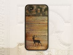 Camo wood cell phone case, iPhone 4 4s, iPhone 5 5s, Galaxy S3 S4, Choose a Deer, Moose, or USA  cover, Guy gift for him, hunter, man, tough on Etsy, $17.99