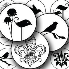 Birds, flowers, fleur de lis, and other modern designs are paired together in a black and white silhouette. Printable collage sheet by piddix.