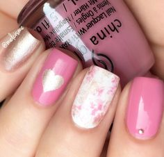 Lovely manicure by @melcisme showing off her skilz with the Spring 2018 #chinaglaze collection and our Large Heart Nail Art Stencils found at snailvinyls.com