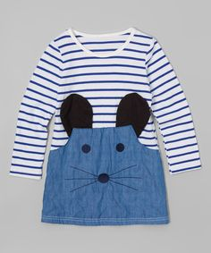 Look at this Leighton Alexander Blue & White Stripe Mouse Tunic - Toddler & Girls on #zulily today!