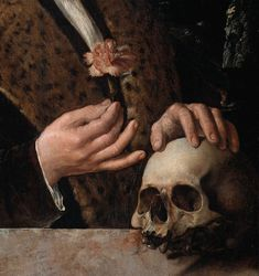 Portrait of Pompejus Occo (detail), Dirck Jacobsz, 1531 by Dirck Jacobsz; The carnation may be a symbol of betrothal; the skull is a memento mori; and his coat of arms hangs from the tree. Aesthetic Painting, Aesthetic Art, Memento Mori, Renaissance Kunst, Old Paintings, Vanitas Paintings, Art Hoe, Classical Art, Old Art