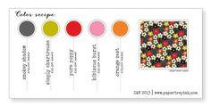 Smokey Shadow, Simply Chartreuse, Pure Poppy, Hibiscus Burst, Orange Zest (Color-Recipe-9, SAF 2013)