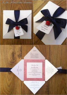 Navy with red rose Fold Over Wedding Invitation  www.jenshandcraftedstationery.co.uk www.facebook.com/jenshandcraftedstationery