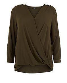 Plus Size Khaki D-Ring Shoulder Wrap Front Top  | New Look