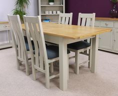 Aspen Painted Oak Sage Grey Extending Dining Table and x4 Chairs £499  Table 140-180