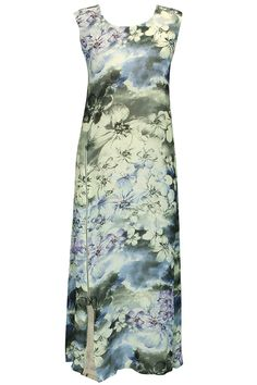 Grey floral printed tunic with slit by Varun Bahl Shop now: http://www.perniaspopupshop.com/designers/varun-bahl #shopnow #varunbahl #perniaspopupshop