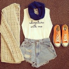 casual, white singlet, denim shorts, blue scarf, beige cardigan, converse