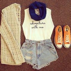 casual, white singlet, denim shorts, blue scarf, beige cardigan, converse