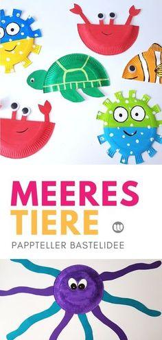 Pappteller Unterwasserwelt: Meerestiere Sommerdeko basteln mit Kindern #Sommer #Unterwasserwelt #Ozean #Aquarium #Meerestiere #Fische #DIY #Wanddeko #Pappteller #basteln #Deko #Kindergarten #KITA #Kunst #einfach #Bastelanleitung #PaperPlate #kidscraft #upcycling #Sommerdeko