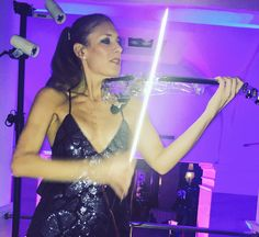Elsa Martignoni Violin with her led lights Electric violin , live performance, she plays very well with high energy, #roma #event