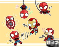 Spider-Man Homecoming by Marvel Avengers, Chibi Marvel, Marvel Fan, Drawing Cartoon Characters, Character Drawing, Comic Character, Spideypool, Superfamily, Marvel Heroes