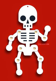 Skull Appreciation Day 2014: Skeleton Jumping Jack Toy. Follow the link for the PDF pattern and instruction. http://www.skulladay.blogspot.com/2014/06/happy-skull-appreciation-day.html