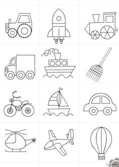 The Transportation Clip Art Set Art Drawings For Kids, Drawing For Kids, Easy Drawings, Art For Kids, Crafts For Kids, Basic Drawing, Drawing Drawing, Colouring Pages, Coloring Books