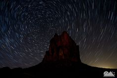 A 45 image stack of star trails above Shiprock, New Mexico.