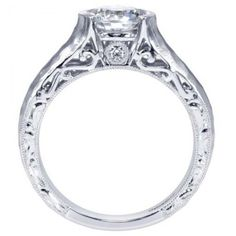 Unique 14K White Gold Hammered Bezel Set Solitaire with Filigree Profile Engagement Ring @ Wedding Day Diamonds