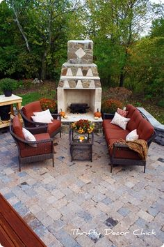 this patio and outdoor fireplace in our backyard. Outdoor Living Rooms, Outside Living, Outdoor Spaces, Outdoor Decor, Outdoor Ideas, Outdoor Patios, Outdoor Furniture, Backyard Fireplace, Brick Fireplace