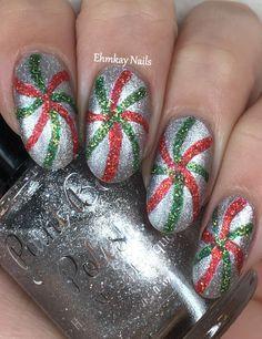 ehmkay nails: Paint Box Polish Christmas Candy Swirly Mints Nail Art