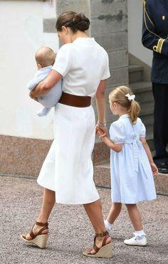 Crown Princess Victoria of Sweden.. Ralph Lauren dress and belt, with Zara heels..... - Celebrity Fashion Trends