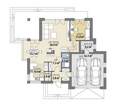 Hermiona Nowa II House Construction Plan, House Plans, Floor Plans, Houses, How To Plan, Modern, Projects, Homes, House Floor Plans